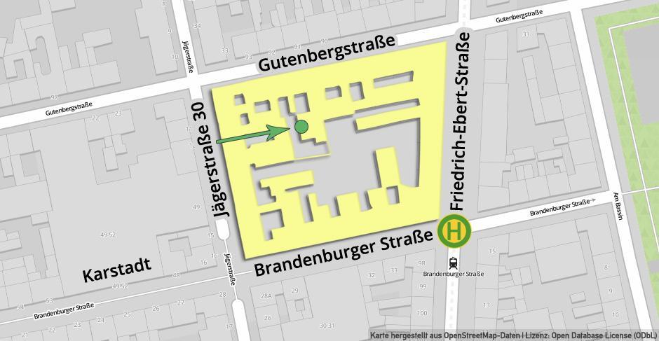 Straßenkarte Potsdam (hergestellt aus OpenStreetMap-Daten | Lizenz: Open Database License (ODbL))